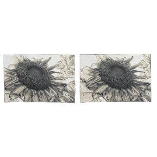 Riesen-Sonnenblumen Vintag Sepia Art Design Kissenbezug