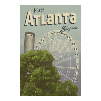 Riesenrad-Vintages Reise-Plakat Atlantas Skyview Poster