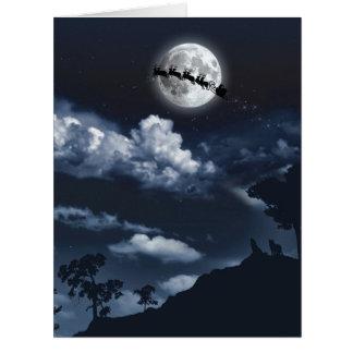 Riesige Pferdeschlitten-Mond-Weihnachtskarte Karte