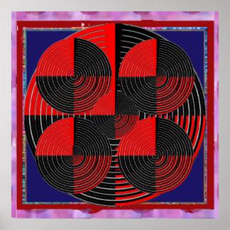 Riesige rote schwarze silberne Linie LiveChakra Poster