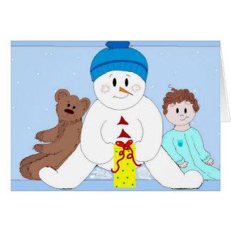 Riesiger Schneemann und Freunde Karte