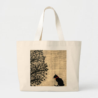 Riesiger Sepia und weiße Katzen-Grafik-Tasche Jumbo Stoffbeutel