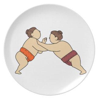 Rikishi Sumo-Ringkämpfer, der Seitenmonolinie Essteller