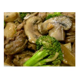 Rindfleisch, Brokkoli u. Pilz Stirfischrogen Postkarte