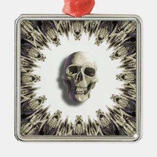 Ring der Knochen mit dem Schädel Quadratisches Silberfarbenes Ornament