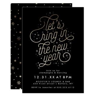 Ring im neues Jahr-Party laden Imitat-Goldfolie Karte