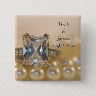 Ring Prinzessin-Diamant und weiße Perlen, die Quadratischer Button 5,1 Cm