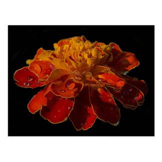 Ringelblumen-Blume mit Wassertropfen Postkarte
