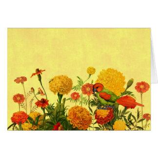 Ringelblumen-Garten in den orange und goldenen Karte