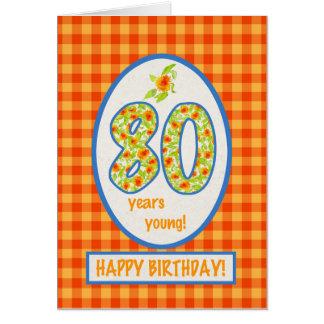 Ringelblumen und Karo-Gingham: 80. Grußkarte