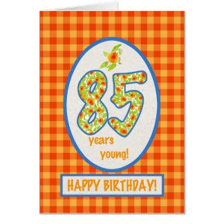 Ringelblumen und Karo-Gingham: 85th Grußkarte