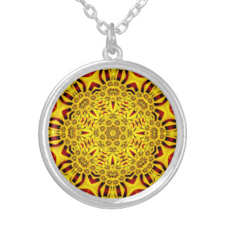 Ringelblumen-Vintage Kaleidoskop-Halsketten Versilberte Kette