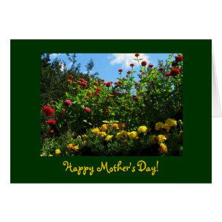 Ringelblumen, Zinnias und der Tag der blauer Karte