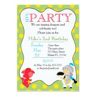 Ritter-Drache-Einladungs-Kindergeburtstag-Party Karte