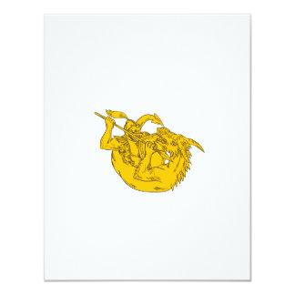 Ritter-kämpfendes Drache-Stangen-Zeichnen 10,8 X 14 Cm Einladungskarte