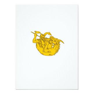 Ritter-kämpfendes Drache-Stangen-Zeichnen 14 X 19,5 Cm Einladungskarte
