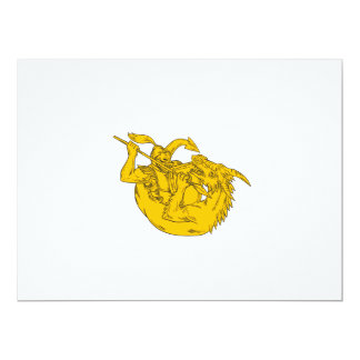 Ritter-kämpfendes Drache-Stangen-Zeichnen 16,5 X 22,2 Cm Einladungskarte