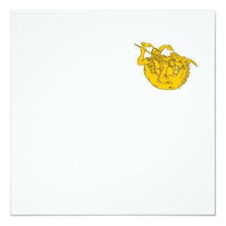 Ritter-kämpfendes Drache-Stangen-Zeichnen Quadratische 13,3 Cm Einladungskarte