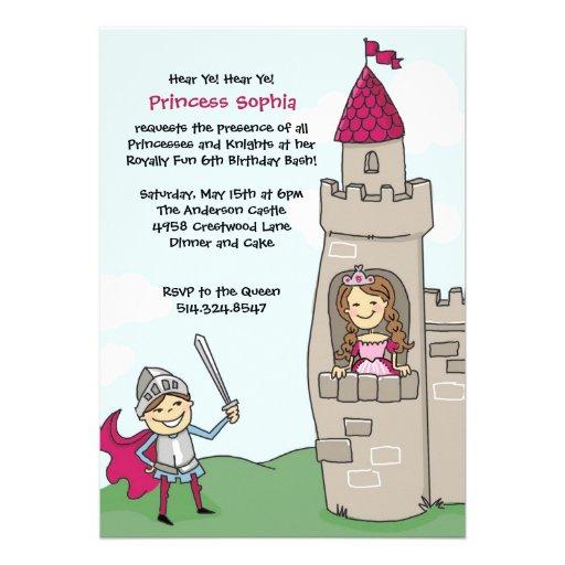 Ritter rettet Prinzessin Invitations: Brünett Einladungskarten