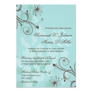 Robin-Ei-blaue Brownblumenhochzeits-Einladungen Karte