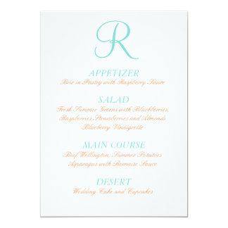 Robin-Ei-blaues orange Hochzeits-Menü-einfache 12,7 X 17,8 Cm Einladungskarte