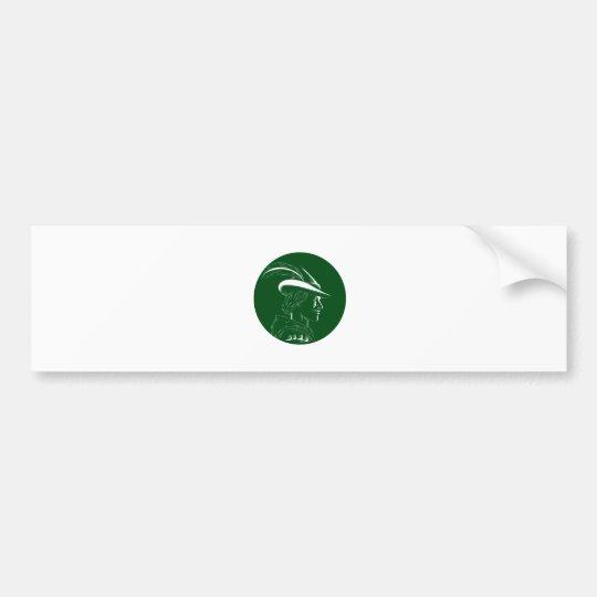 Robin Hood Seitenprofil-Kreis-Holzschnitt Autoaufkleber