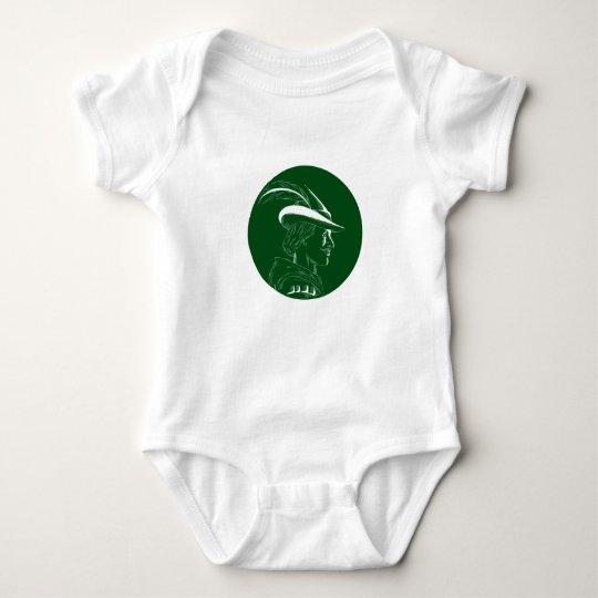 Robin Hood Seitenprofil-Kreis-Holzschnitt Baby Strampler