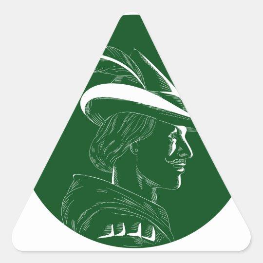 Robin Hood Seitenprofil-Kreis-Holzschnitt Dreieckiger Aufkleber