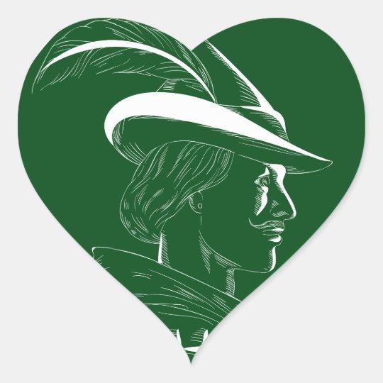 Robin Hood Seitenprofil-Kreis-Holzschnitt Herz-Aufkleber