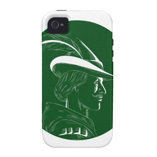 Robin Hood Seitenprofil-Kreis-Holzschnitt iPhone 4/4S Cover