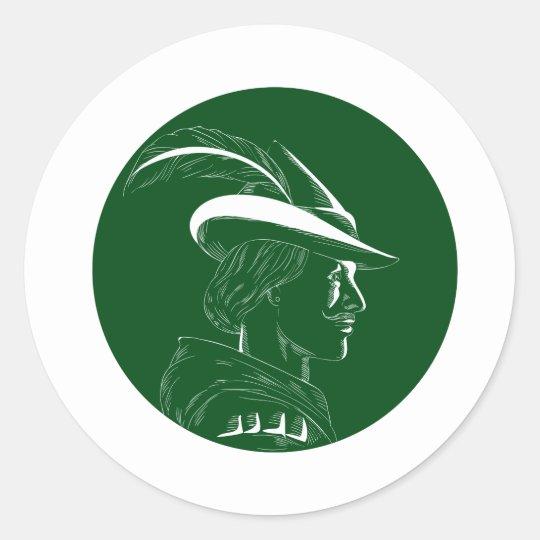 Robin Hood Seitenprofil-Kreis-Holzschnitt Runder Aufkleber