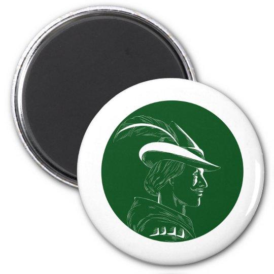Robin Hood Seitenprofil-Kreis-Holzschnitt Runder Magnet 5,7 Cm