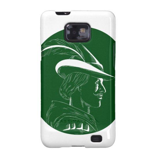 Robin Hood Seitenprofil-Kreis-Holzschnitt Samsung Galaxy S2 Case