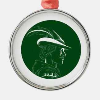 Robin Hood Seitenprofil-Kreis-Holzschnitt Silbernes Ornament