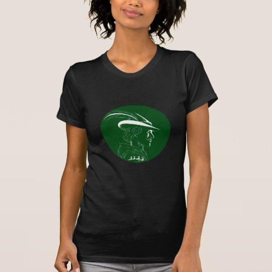 Robin Hood Seitenprofil-Kreis-Holzschnitt T-Shirt