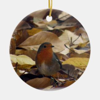 Robin im Blätter Keramik Ornament