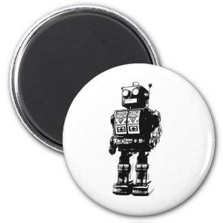 Robot vintage noir et blanc magnet rond 8 cm