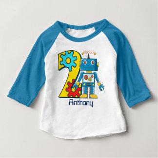 Roboter-2. Geburtstags-Gewohnheit Baby T-shirt