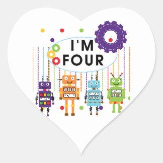 Roboter-4. Geburtstags-T-Shirts und Geschenke Herz-Aufkleber