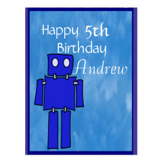 Roboter-5. Geburtstag Postkarte
