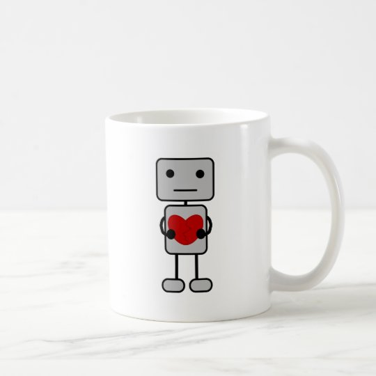 Roboter mit Herzen Kaffeetasse