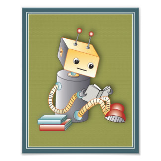 Roboter-Spiel-Kunst-Druck - Roboter mit einem Buch Kunstphotos