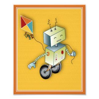 Roboter-Spiel-Kunst-Druck - Roboter mit einem Fotografischer Druck