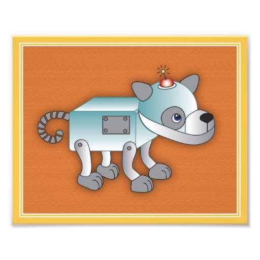 Roboter-Spiel-Kunst-Druck - Roboter-Welpe Photographischer Druck