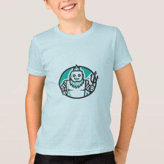 RoboterPoseidon, das Trident-ovales Retro hält T-Shirt