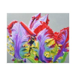 Rocco Papageien-Tulpe, ungewöhnliche gelockte Leinwanddruck