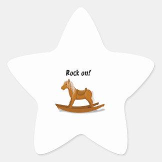 Roche sur l'illustration de cheval de basculage autocollant en étoile