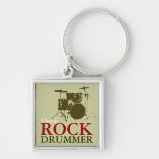 Rock-and-Rollschlagzeuger Silberfarbener Quadratischer Schlüsselanhänger