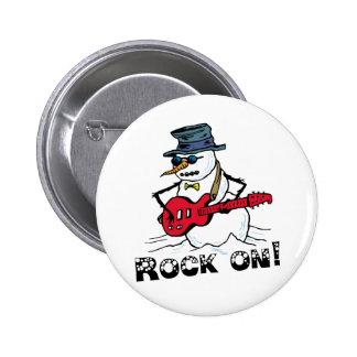 Rock auf der Gitarre, die Schneemann spielt Runder Button 5,7 Cm