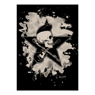 Rock-n-Roll Skull - bleached Poster